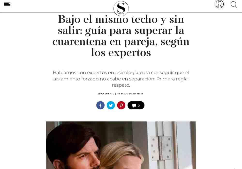 psicologos medios comunicacion El País S MODA cuarentena en pareja