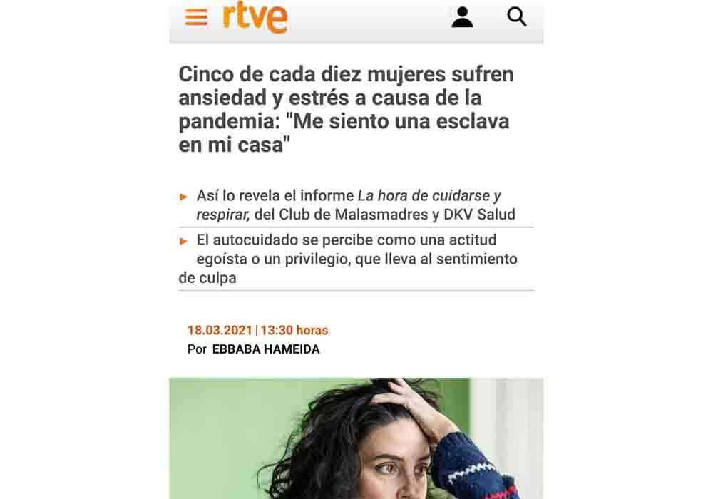 psicologos medios comunicacion TVE mujeres ansiedad y estrés pandemia